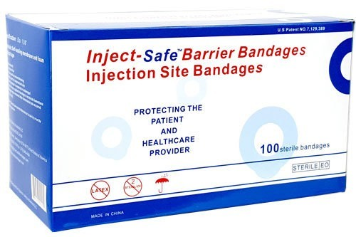intra-muscular and subcutaneous injection, barrier bandage, injection bandage, injection tool, nurse material, healthcare product,needle bandage, needle band aid, band aid for flu shots, injection band aid, injection safety bandage, when to take off bandages after shots, vaccine band aid